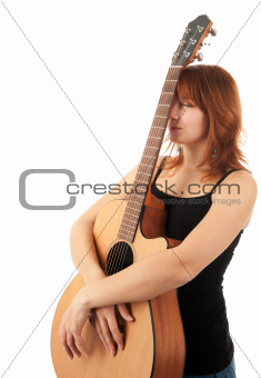 redhead Girl with guitar on a white background