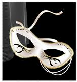 white carnival half- mask