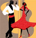 couple flamenco dancers