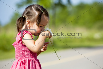 toddler smelling flower