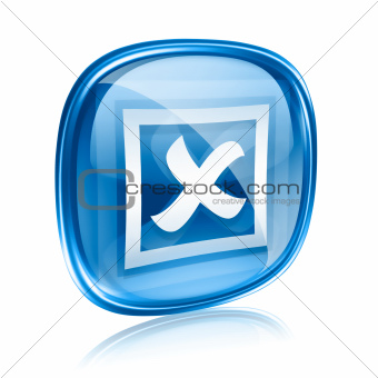 close icon blue glass, isolated on white background.