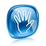 hand icon blue glass, isolated on white background.