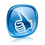 thumb up icon blue glass, approval Hand Gesture, isolated on whi