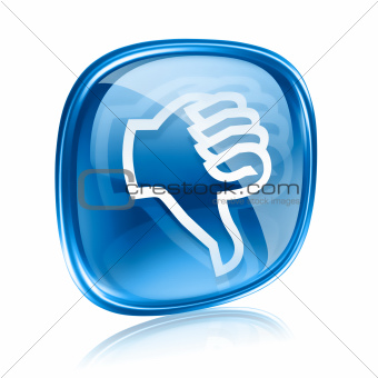 thumb down icon blue glass, isolated on white background.