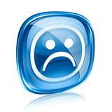 Smiley dissatisfied blue glass, isolated on white background.
