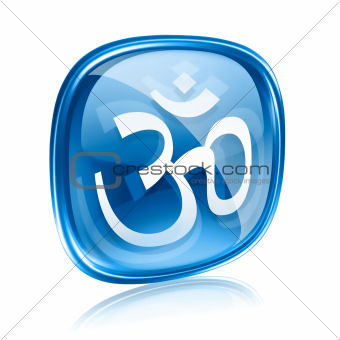 Om Symbol icon blue glass, isolated on white background.