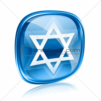 David star icon blue glass, isolated on white background.