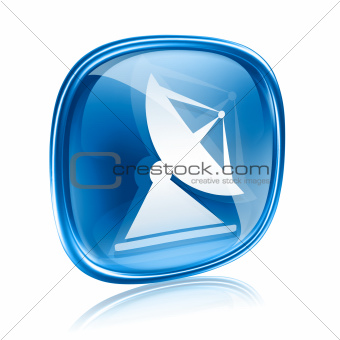 Antenna icon blue glass, isolated on white background