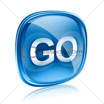 GO icon glass blue, isolated on white background