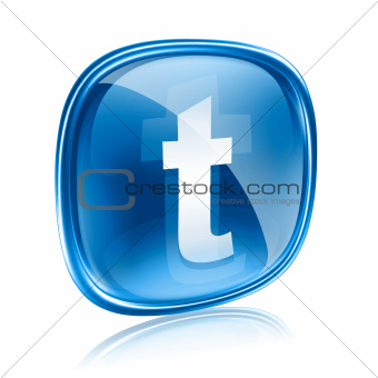 Twitter icon glass blue, isolated on white background