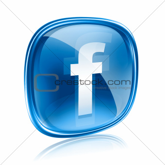 Facebook icon glass blue, isolated on white background