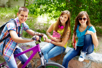 Girls and biker