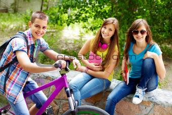 Girls and biker