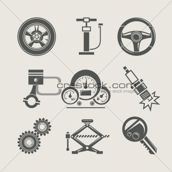 car part set of repair icon