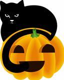 Black Cat Peeking Over the Top of a Halloween Pumpkin
