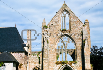 stone facade of old abbey