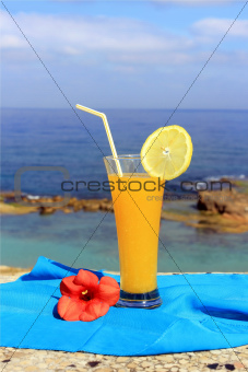 seascape and fruit cocktail