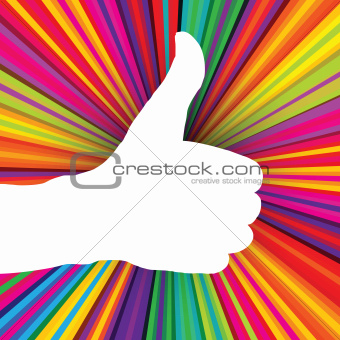 Like symbol on psychedelic colored abstract background. Vector,