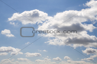 Background blue sky with clouds on sunny day