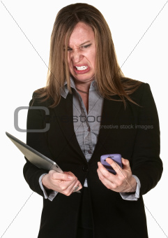 Business Lady with Technical Problems