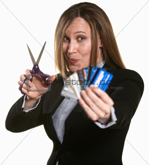 Woman Cuts Credit Cards