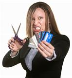 Woman With Credit Cards and Scissors