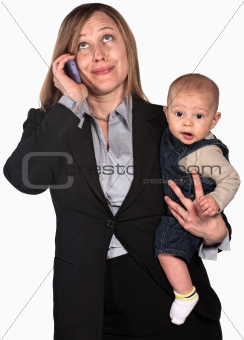 Working Mother on Phone