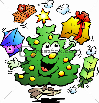 Hand-drawn Vector illustration of an Christmas Who Juggle Gifts