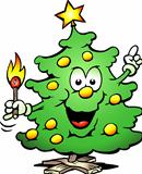Hand-drawn Vector illustration of an Christmas Tree  With a match