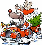 Hand-drawn Vector illustration of an Reindeer Driving Car