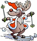 Hand-drawn Vector illustration of an Reindeer Skiing