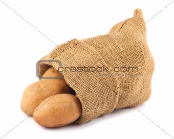 Fresh raw potatoes in burlap sack