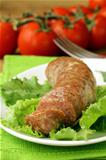grilled sausage with green salad