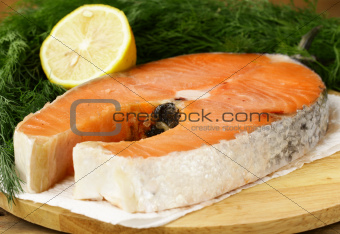 red delicatessen  fish  salmon with lemon and dill