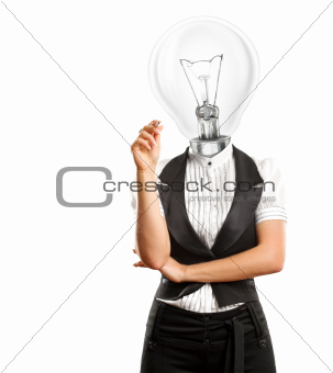 Lamp Head Businesswoman Writing Something