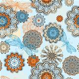 vector seamless abstract  pattern with doodle flowers and dragon