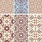 vector six seamless  patterns, oriental style