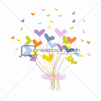 Greeting card with bouquet made of hearts