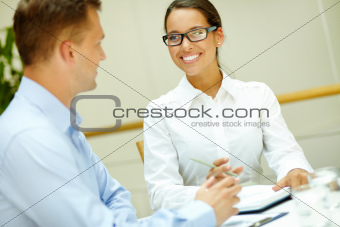 Smiling to colleague