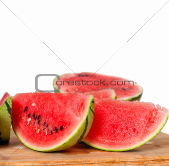 fresh watermelon on a  wood table