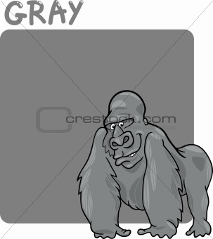 Color Gray and Gorilla Cartoon