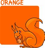 Color Orange and Squirrel Cartoon