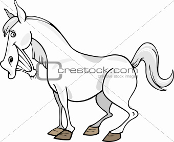 Cartoon Gray Horse
