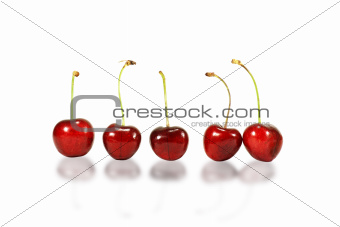 Five red cherries