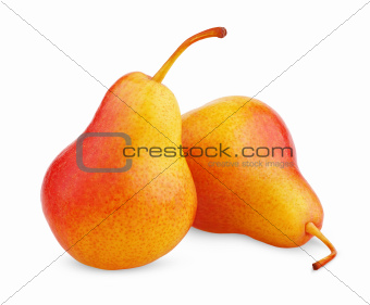 Two ripe red yellow pear fruits