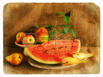 Old postcard. Still Life with Fruit