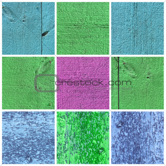 A collection of bright colored wood textures
