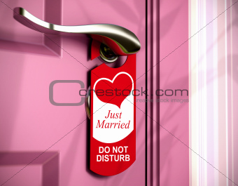 just married, door hanger, honeymoon