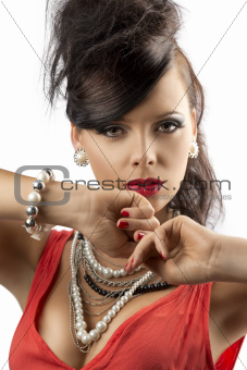 portrait of fashion brunette with joined hands