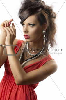 portrait of fashion brunette turned of three quarters